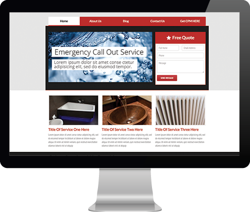 home page of website template